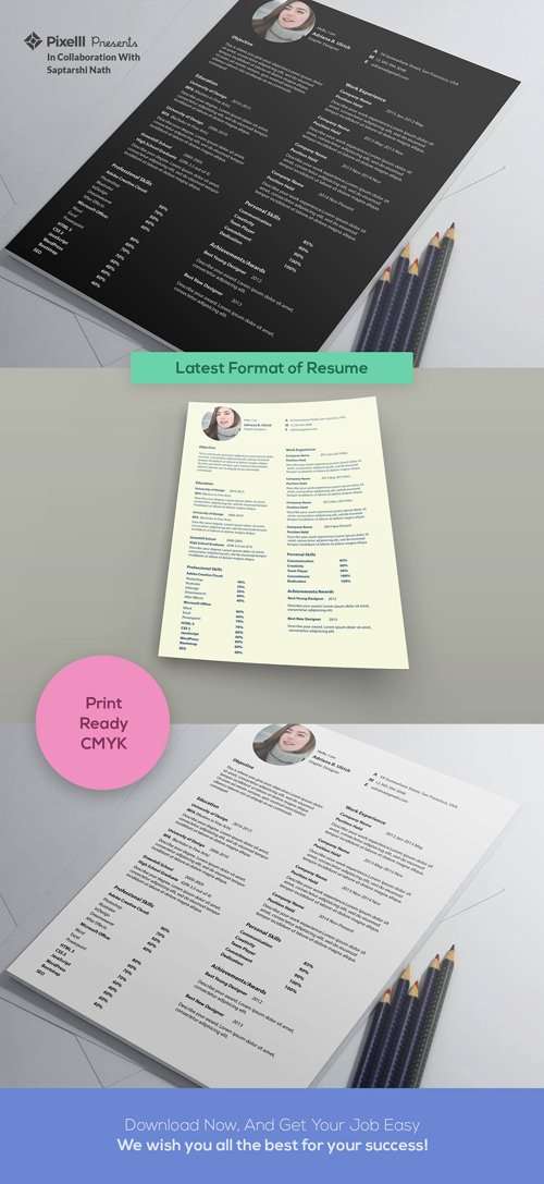 Latest Format of Resume PSD (A4)