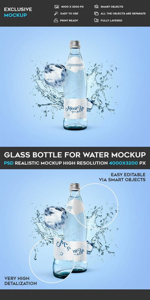Glass Bottle for Water Mockup PSD Template