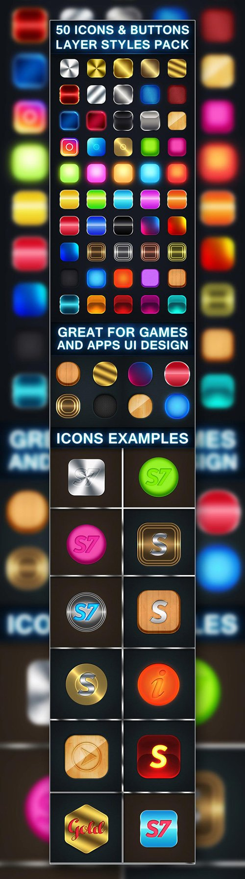 50 Photoshop Icon Styles Pack (ASL/PSD)
