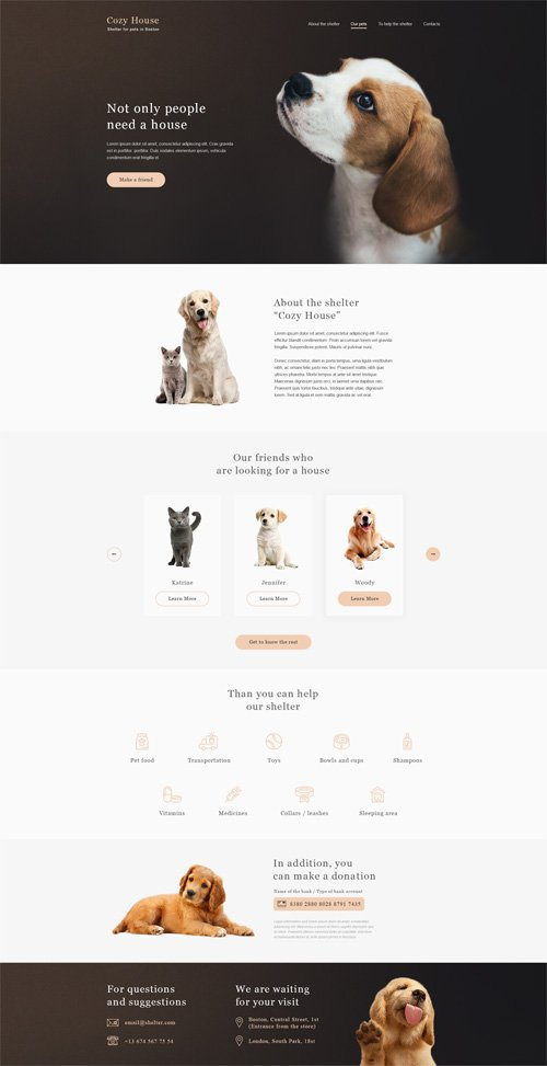 PSD Web Template - Animal Shelter