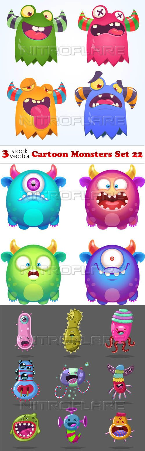Vectors - Cartoon Monsters Set 22