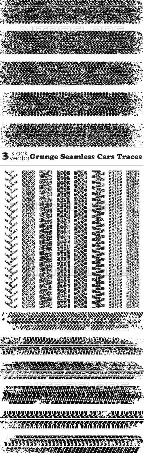 Vectors - Grunge Seamless Cars Traces