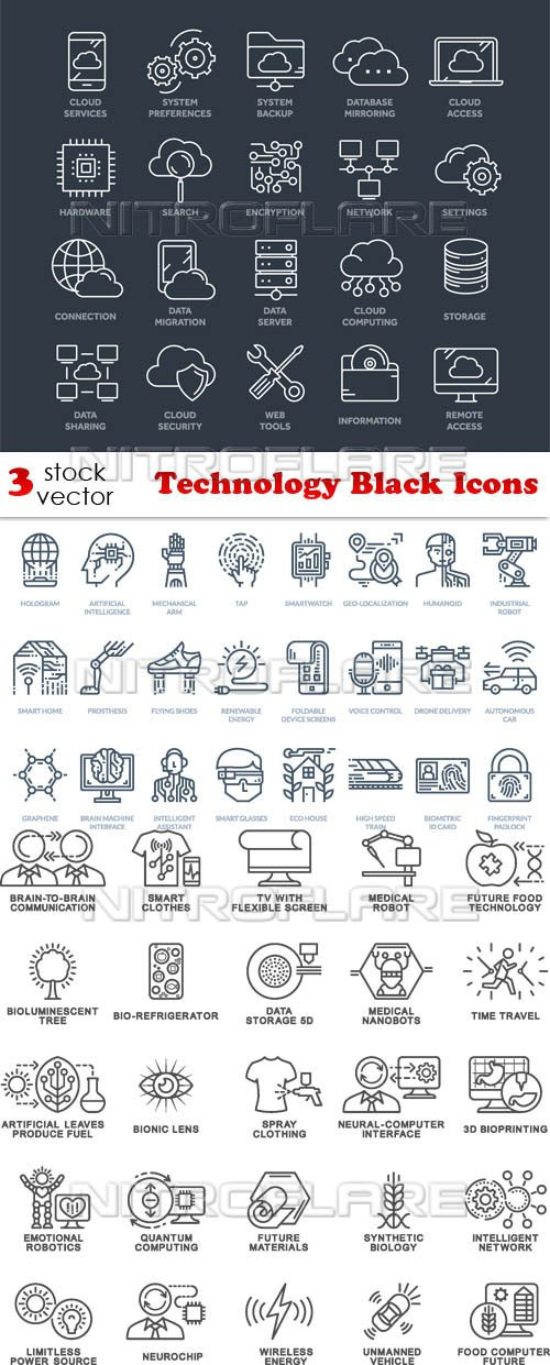 Vectors - Technology Black Icons