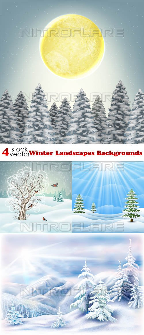 Vectors - Winter Landscapes Backgrounds