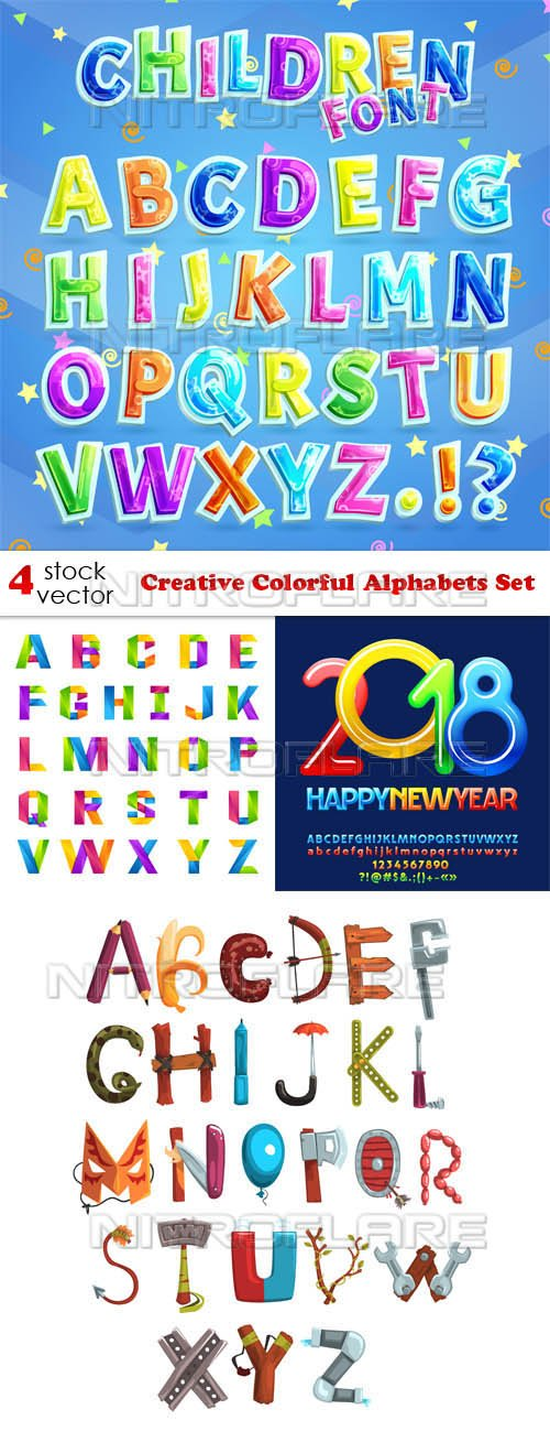 Vectors - Creative Colorful Alphabets Set