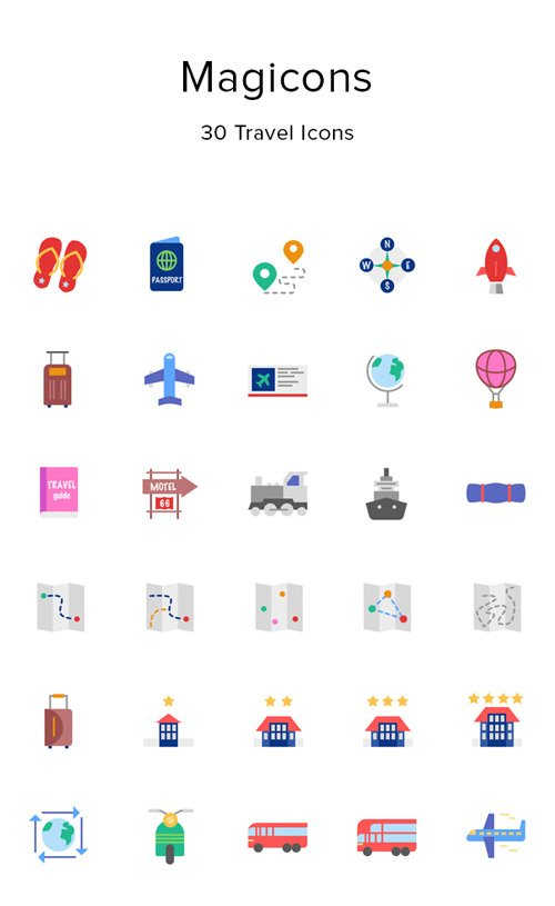 EPS, PNG, SVG, SKETCH Vector Web Icons - 30 Travel Icons