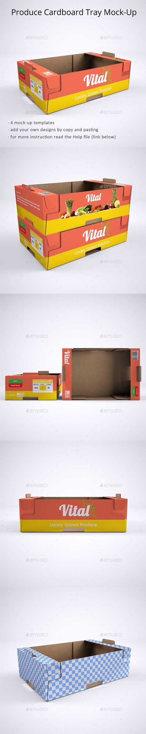 GraphicRiver - Produce Cardboard Tray or Box Mock-Up 21246954