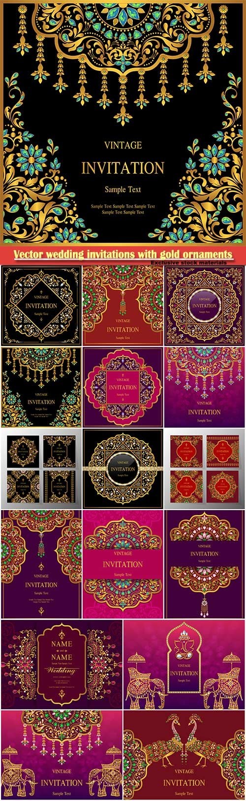 Vector wedding invitations with elegant gold ornaments