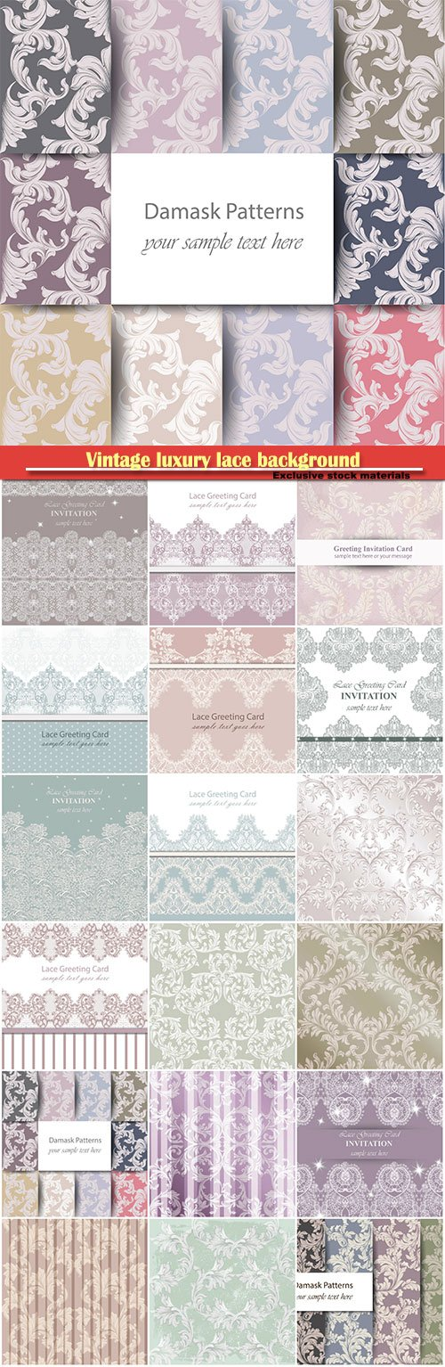 Vintage luxury lace background, vector with handmade intricate ornament