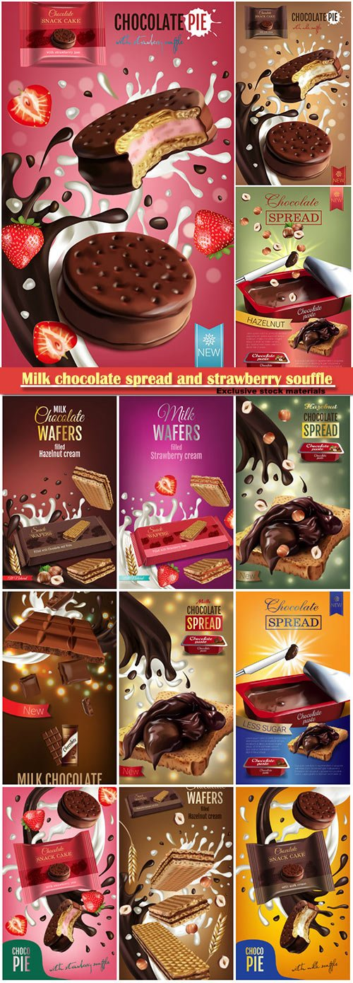 Vector realistic illustration of milk chocolate spread and strawberry souffle
