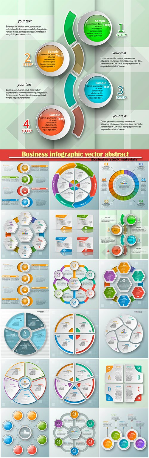 Business infographic vector abstract 3d paper elements
