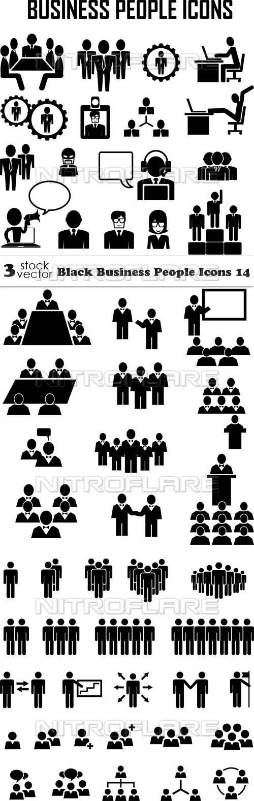 Vectors - Black Business People Icons 14