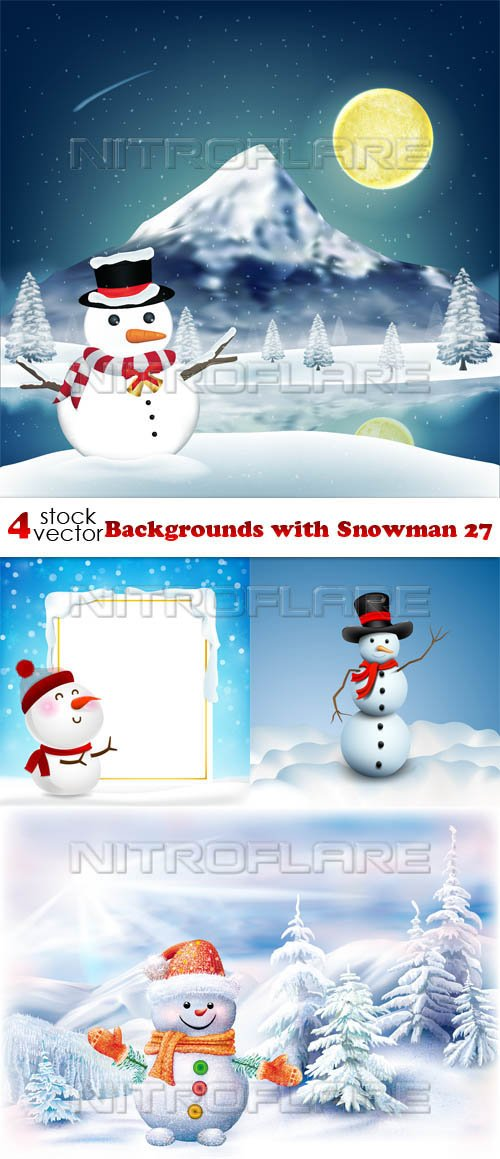 Vectors - Backgrounds with Snowman 27