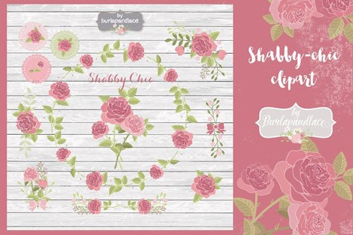 Shabby-chic rose clipart