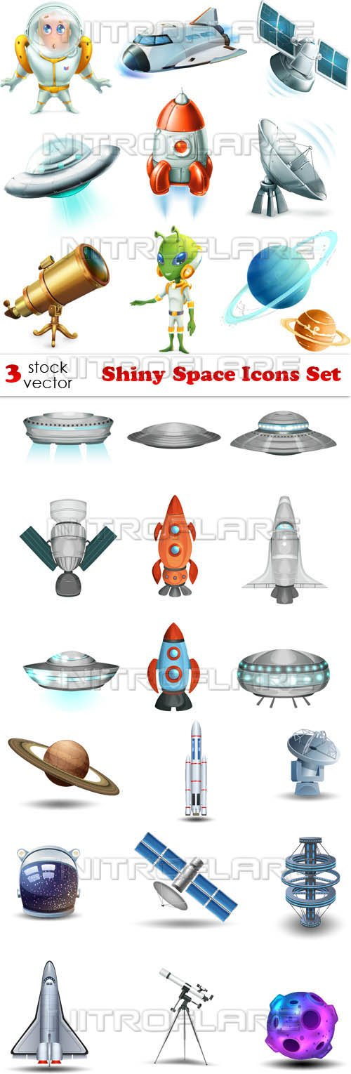 Vectors - Shiny Space Icons Set