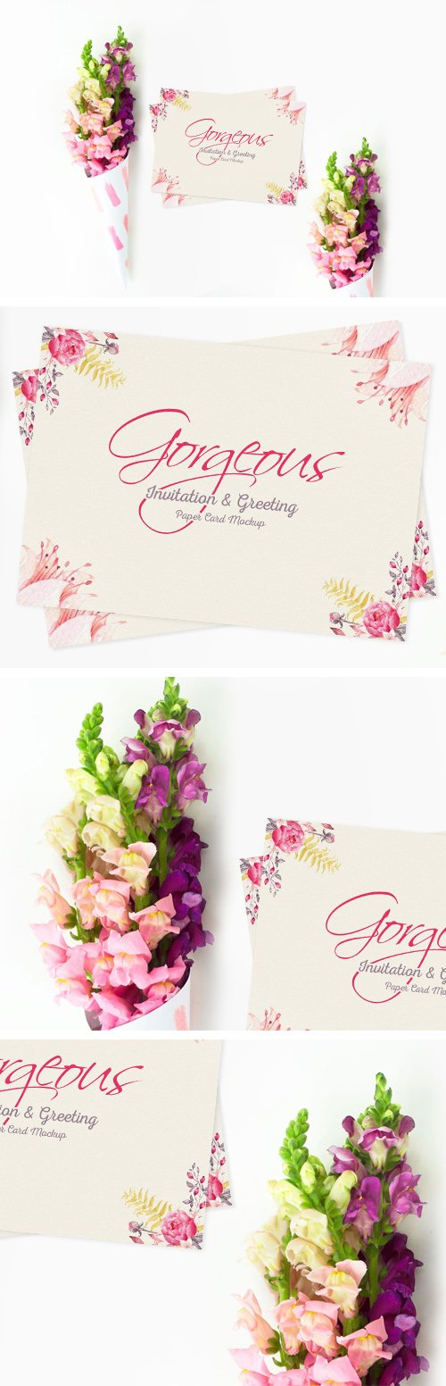 Gorgeous Invitation Greeting Paper Card PSD Mockup Template