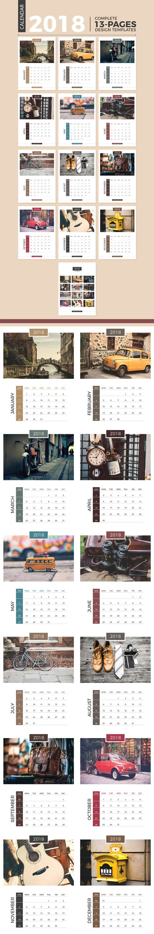 13 Pages Complete 2018 Calendar Vector Design Templates
