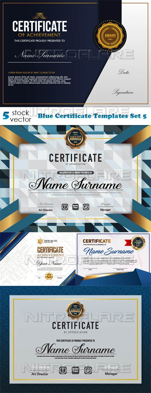 Vectors - Blue Certificate Templates Set 5