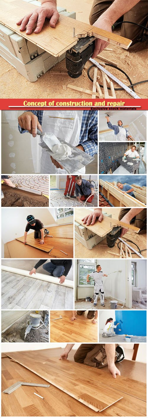 Concept of construction and repair, parquet installation, mounting thermal insulation boards, studwork: fixing the plaster boards