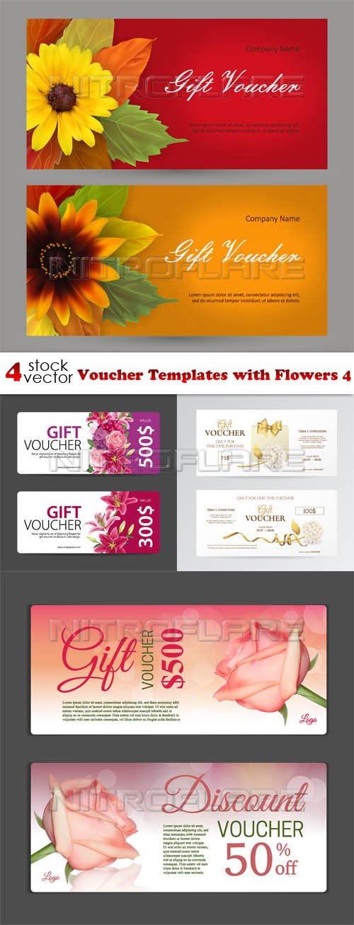 Vectors - Voucher Templates with Flowers 4