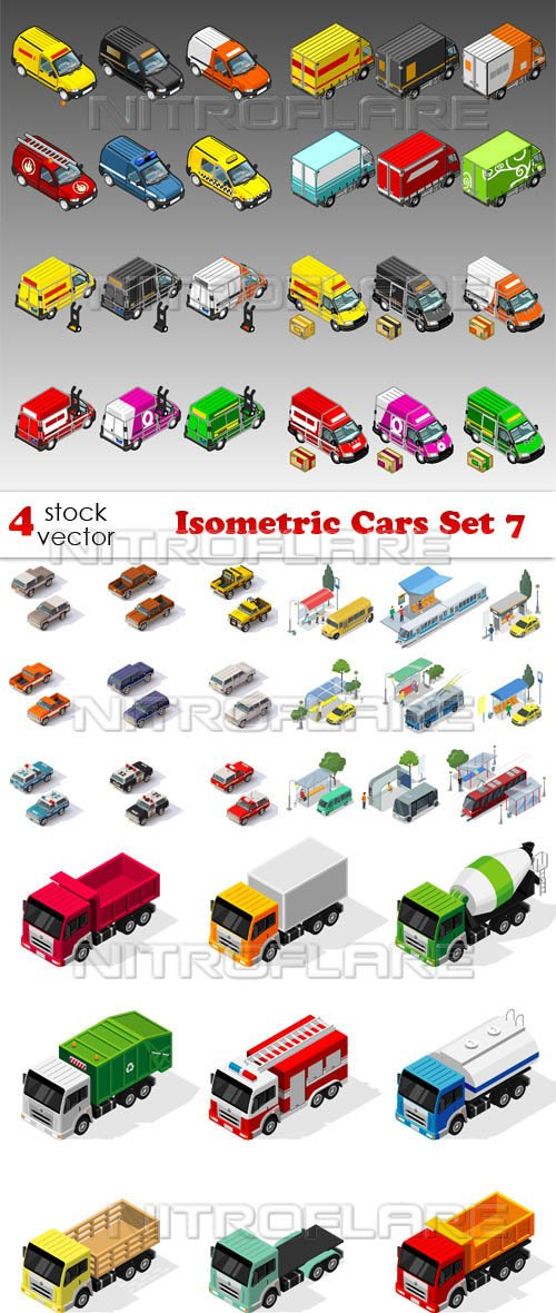 Vectors - Isometric Cars Set 7