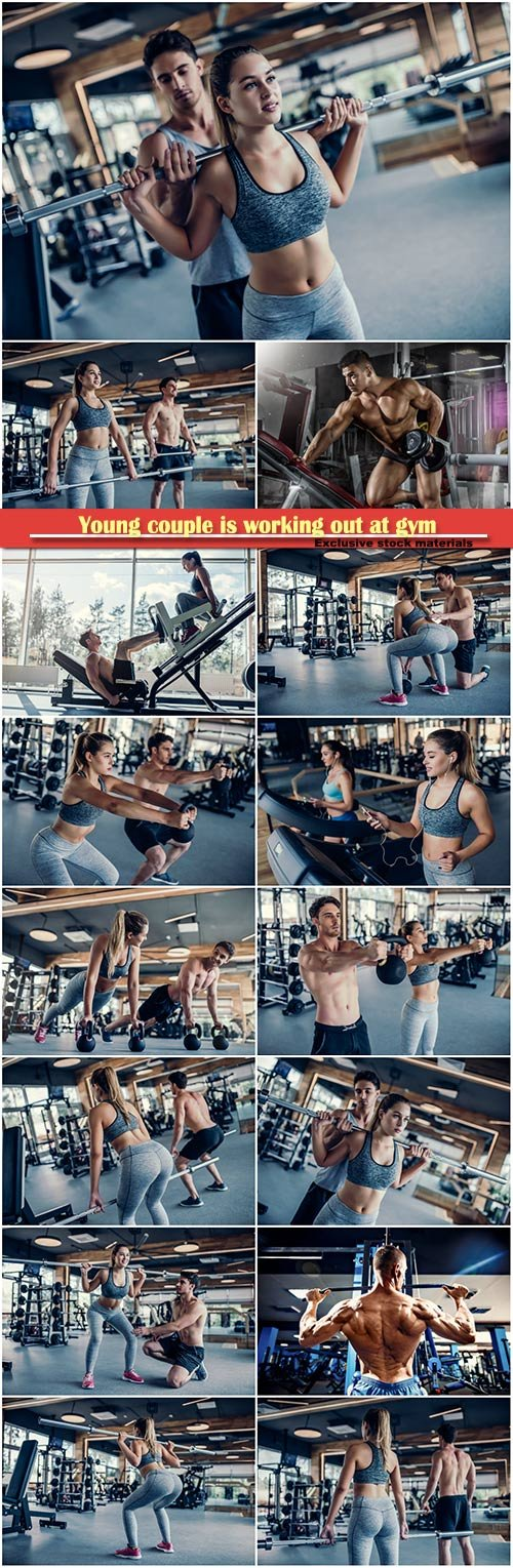 Young couple is working out at gym