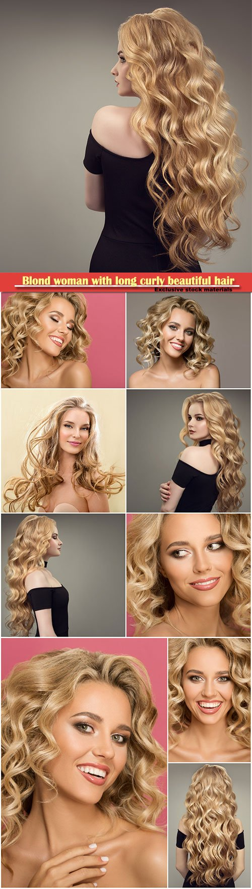 Blond woman with long curly beautiful hair