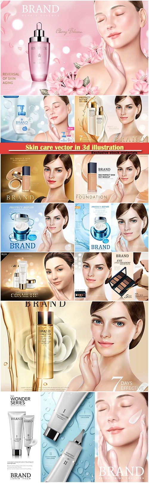 Cosmetic skincare vector, moisture soothing products with a beautiful model in 3d illustration