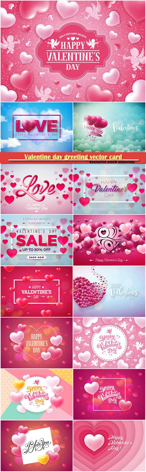 Valentine day greeting vector card, hearts i love you # 6