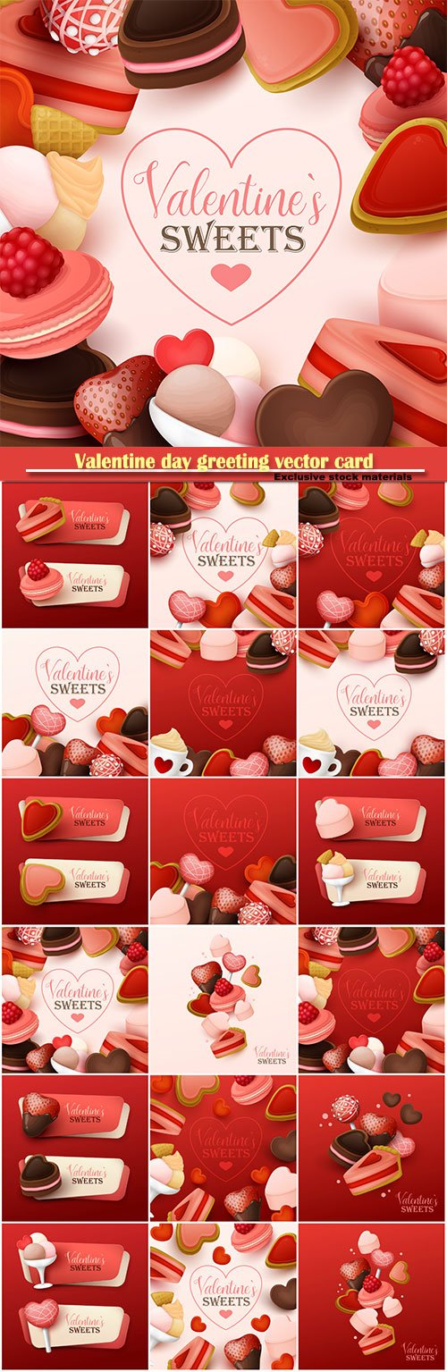 Valentine day greeting vector card, hearts i love you # 9