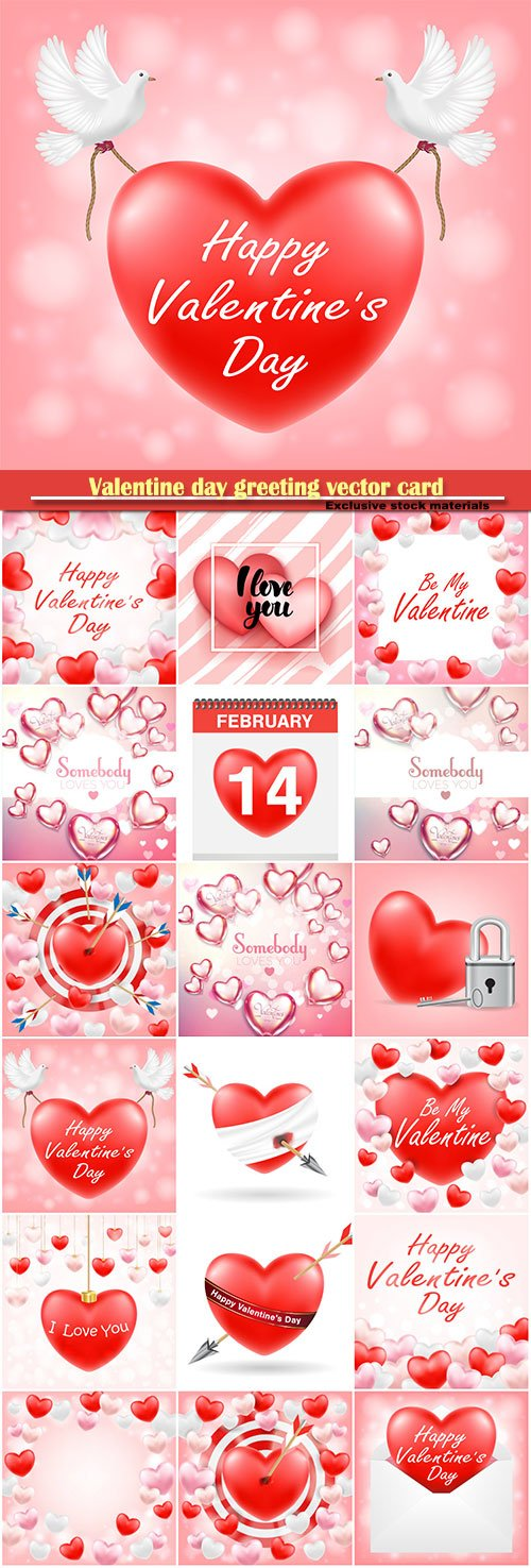 Valentine day greeting vector card, hearts i love you