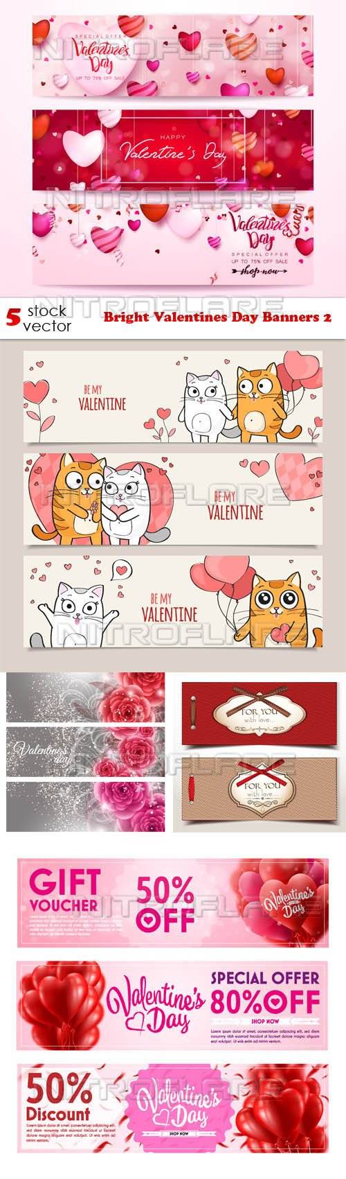 Vectors - Bright Valentines Day Banners 2