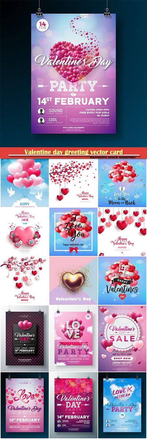 Valentine day greeting vector card, hearts i love you # 28