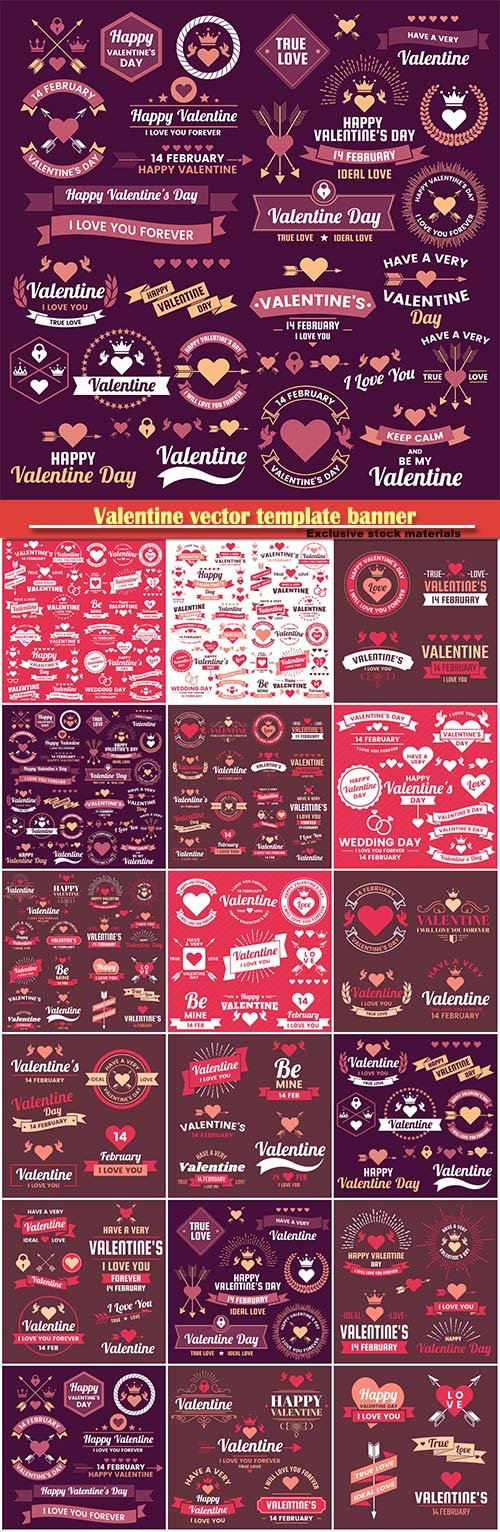 Valentine vector template banner background for banner