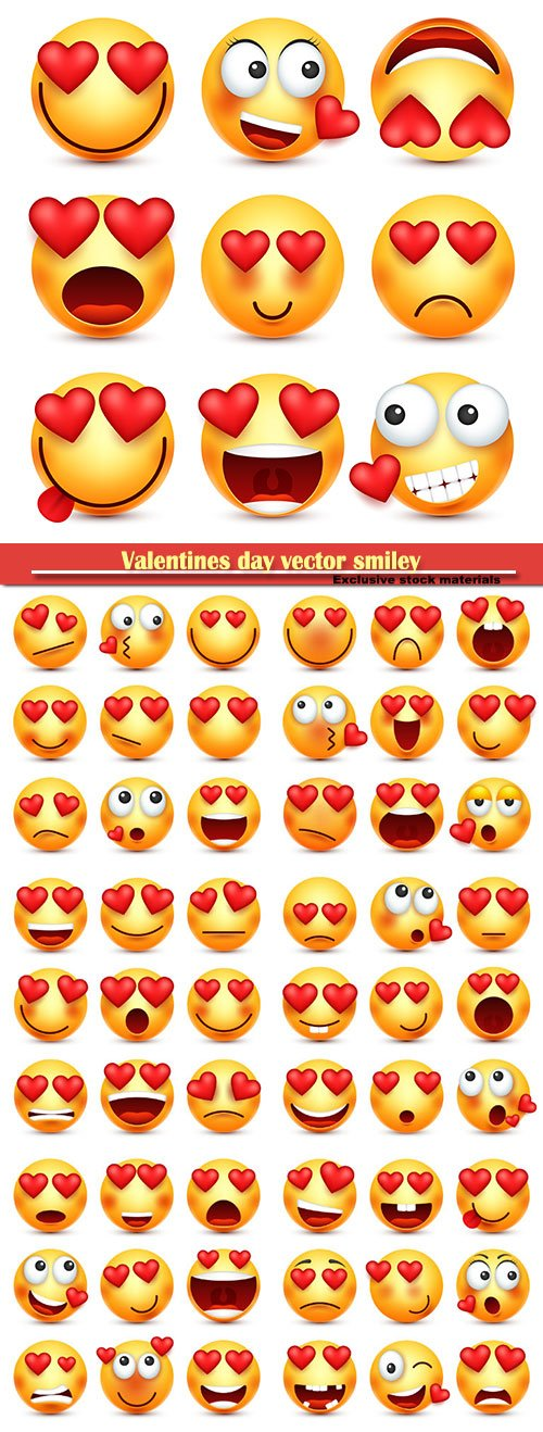 Valentines day vector smiley, emoji with heart