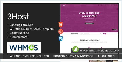 ThemeForest - Hosting Domain Landing Page with WHMCS - 3Host v1.3 - 15313481