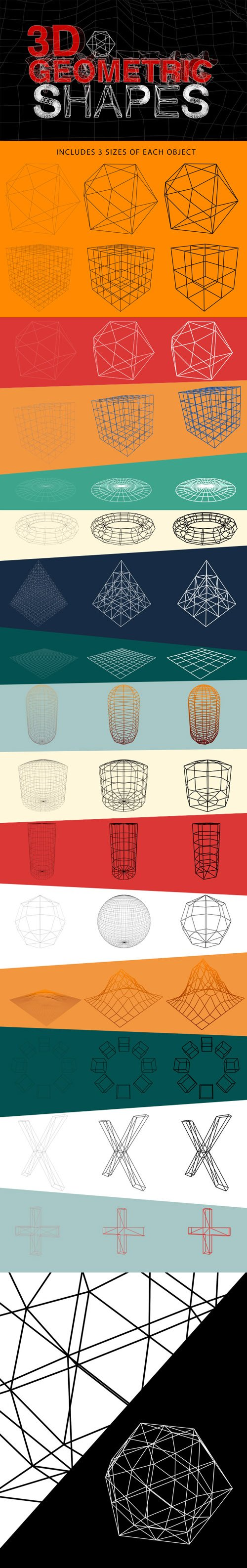 3D Geometric Shapes - Outlines  Wireframes