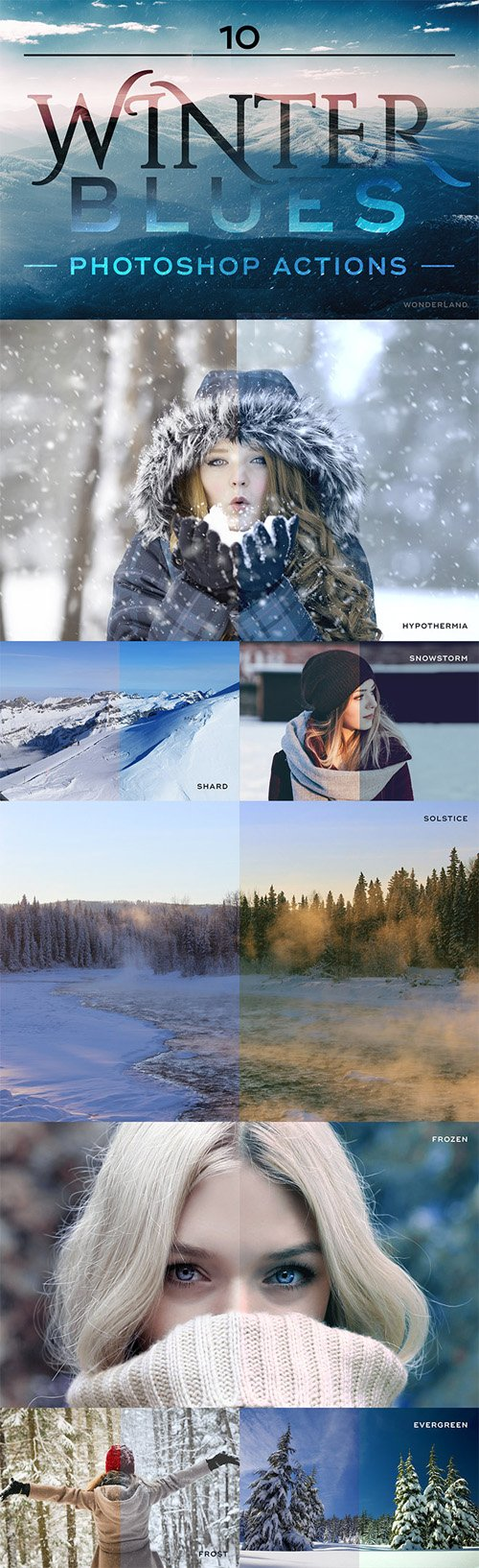 10 Winter Blues Photo Effect Actions for Photoshop