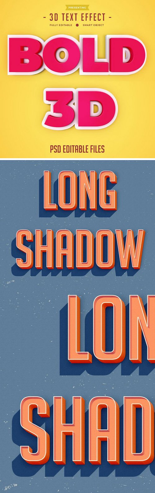3D Bold & Long Shadow Text Effects for Photoshop