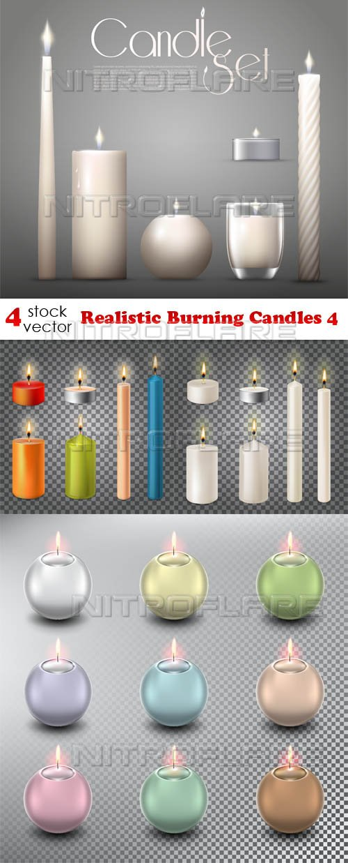 Vectors - Realistic Burning Candles 4