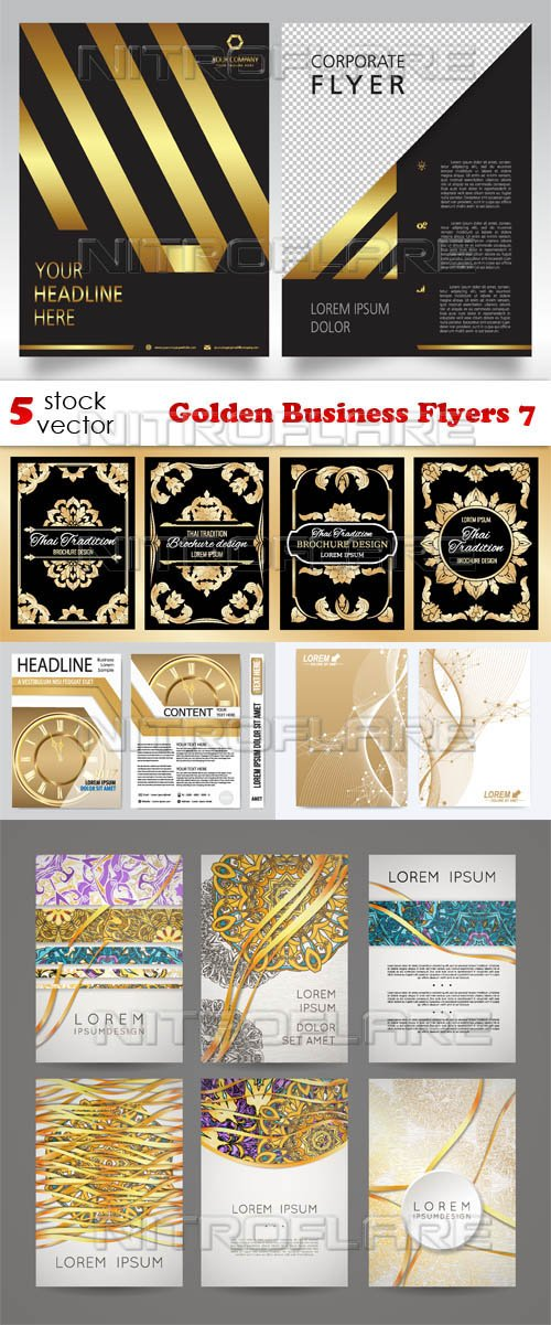 Vectors - Golden Business Flyers 7