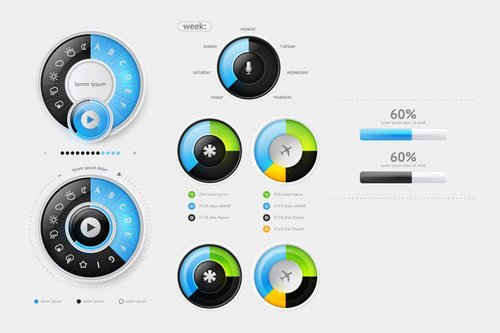 Elements of User Interface for Web. Vector