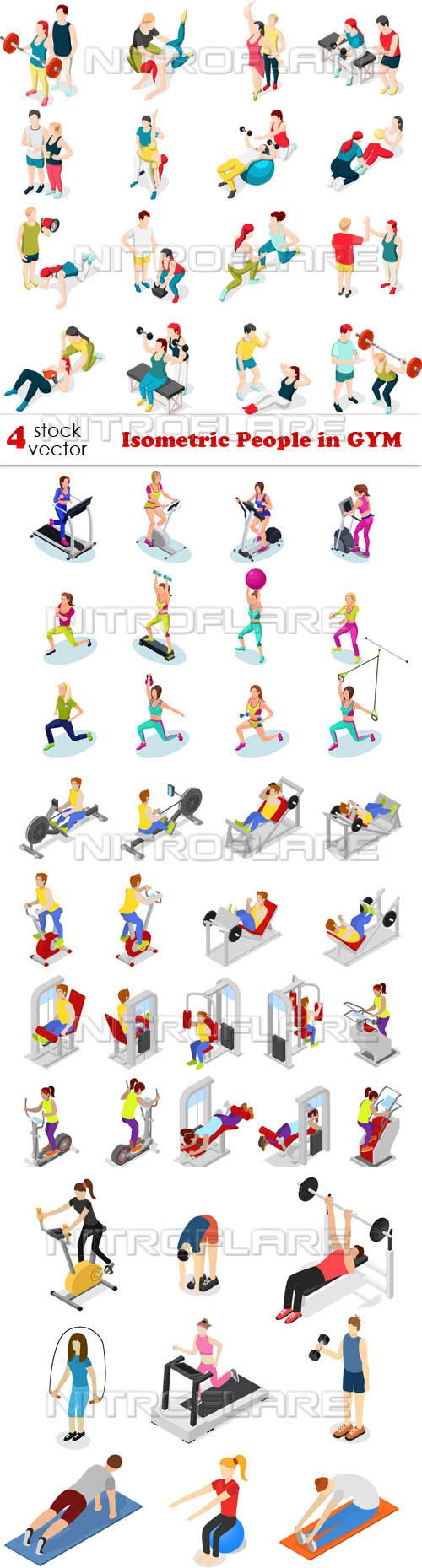 Vectors - Isometric People in GYM