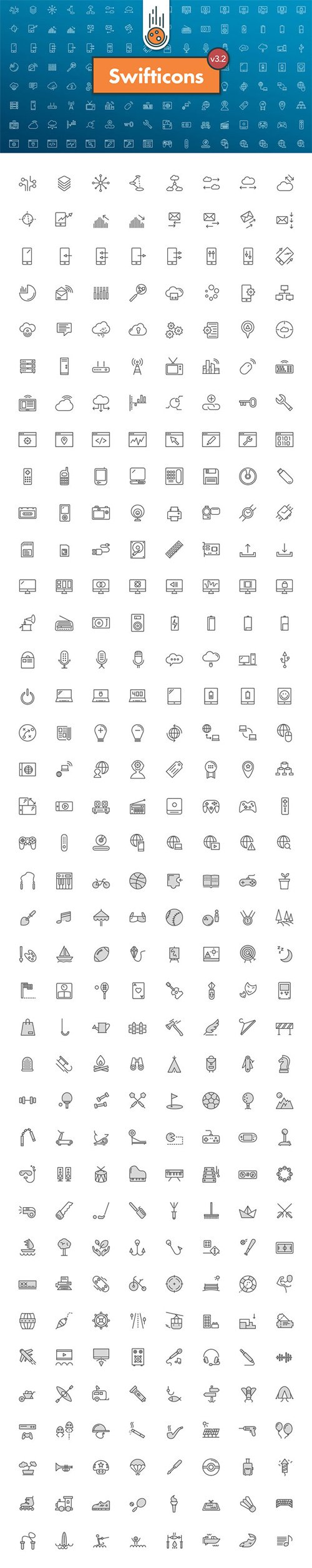 300+ Tech & Activities Icons in Vector [AI/EPS/SVG/PNG/SKETCH]