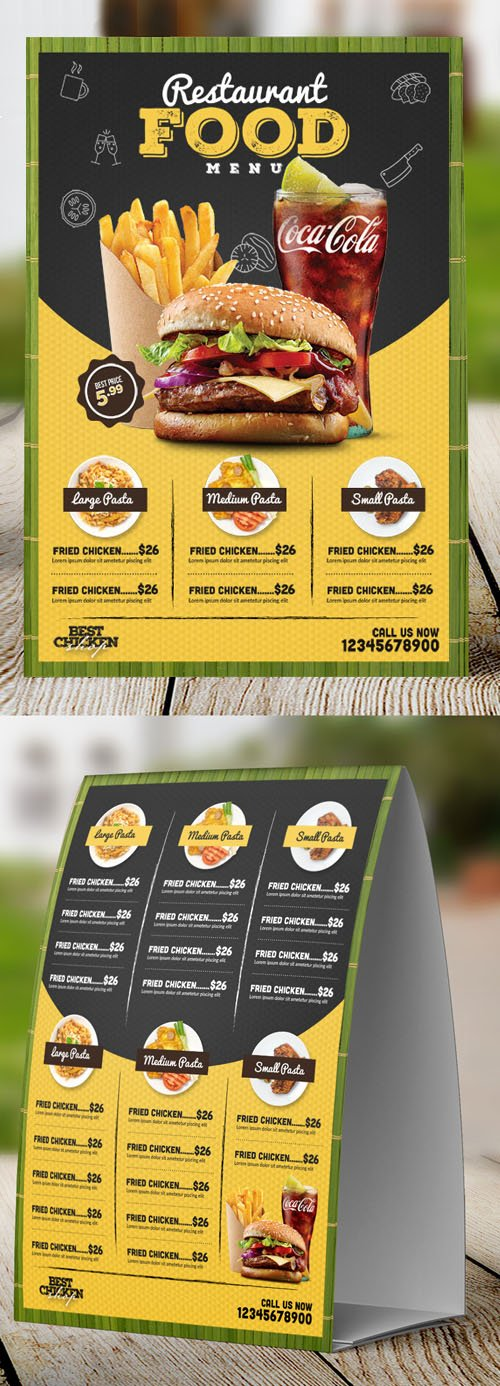 Restaurant Table Tent Food Menu PSD Mockup Template