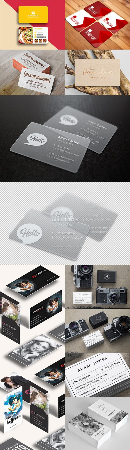 12 Business Card PSD Mockups Bundle
