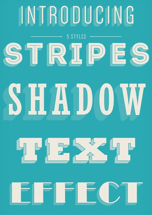 Stripes Shadow Text Effects for Photoshop