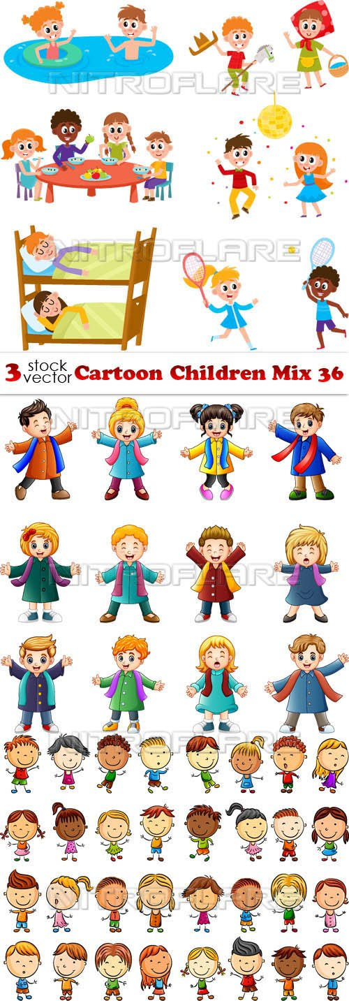 Vectors - Cartoon Children Mix 36