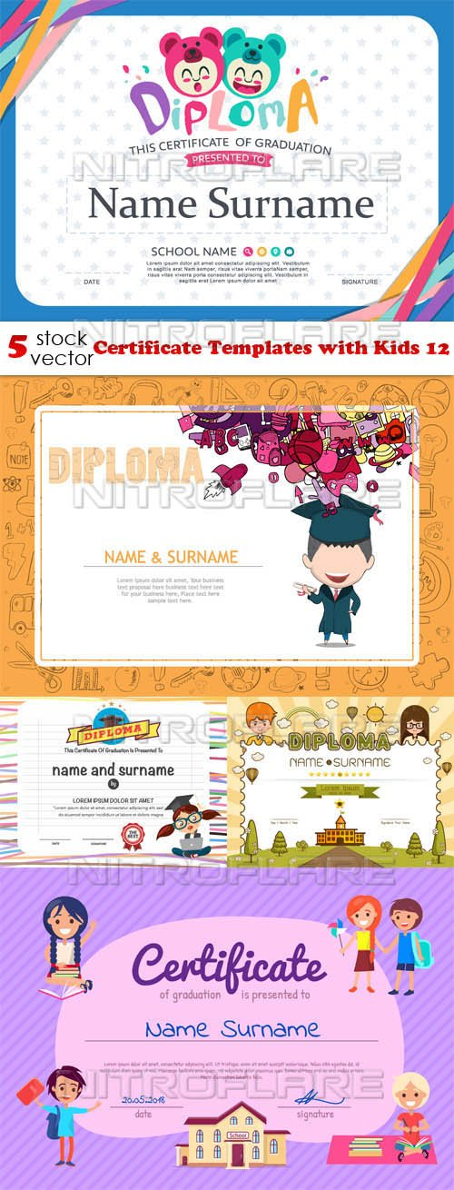 Vectors - Certificate Templates with Kids 12