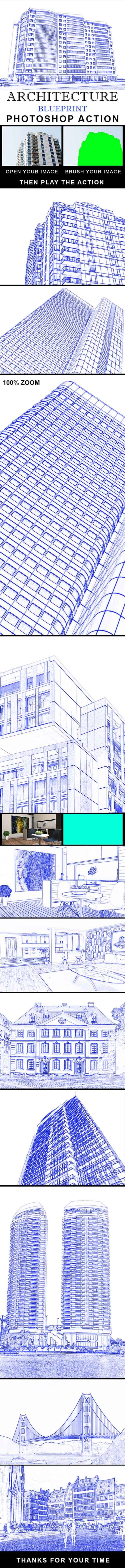 GraphicRiver - Architecture Blue Print Photoshop Action 21334629